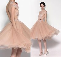 Wholesale Dress Eveni - Peach 2015 Short Valentine's Day Prom Dresses Sexy Sheer Lace Crew Puffy Tulle Skirt with Cute Sash Backless Formal Party Eveni Gowns GD-468