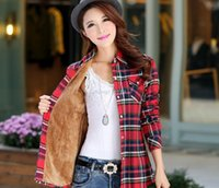Wholesale Thick Warm Long Sleeve Shirts - Tops Blusa Camisa Femininas Autumn winter warm cotton long-sleeved thick velvet women's plaid shirt flannel office shirts