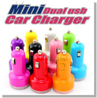 Wholesale Iphone 4s Charger Eu Color - Color Universal Dual USB Car Chargers for Apple iPhone 5 5S 5C 4 4S iPOD iPad air mini Touch Nano Samsung Galaxy