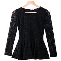 Wholesale Order Chiffon Blouse - Women's Korea Slim O-Neck Floral Lace Shirt Long Sleeve Blouse Dress Round Collar Tops for Women , order<$18no track