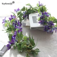 Wholesale Morning Glories Plants - Artificial Flowers Artificial Plants Morning Glory Vines Fake Leaf Wedding Decoration Home Decor Party Christmas Ornaments Fa