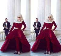 Wholesale arab t shirt - Long Sleeves Arab Muslim Evening Dresses Middle East High Neck Gold Sash Hi Lo Velvet Formal Party Dresses with Pants Arabic Dresses