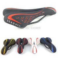 Wholesale Gel Seats For Bicycles - Wholesale-Free Shipping 2015 Hot Sale Seagull Gel Leather Mountain Race Bicycle Saddle Seat Cover Cushion Soft Pad for Mountain Road Bike
