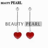 Wholesale Mounted Stud Earrings - 5 Pairs Red Heart Earrings Pearl Base Mounting 925 Sterling Silver Linear Earring Studs Jewelry Making