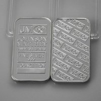 Wholesale Arts Bank - 2 pcs lot, Bank Super JM Johnson Matthey Morgan 1 OZ silver plated American coin bar
