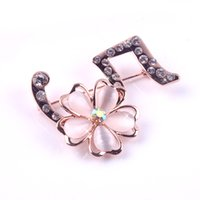 Wholesale Words Rhinestones Pins - New Fashion Ladies Girls Golden Plated Flashing Clear Rhinestone Crystal 5 Word Five Petal Flowers Brooches Pin Clips