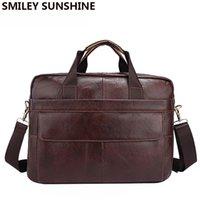 Wholesale Women Leather Attache Case - Genuine Leather Men Briefcases Handbag Document Brown Business Office Laptop Bag Leather Brief Cases Male Work Bag Attache Case