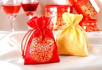 Wholesale Hot Favor Jewelry - 100Pcs Lot Personality 10*13CM Silk Red Yellow Gift Bags Chinese Wedding Favor Bags Jewelry Gift Bag 2016 Hot Sale