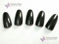 Wholesale Black False French Nails - Wholesale-500 Oval black french nail art tips full cover acrylic nails manicure tools false nail tips Retail SKU:FWH029