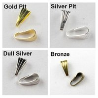 Wholesale Wholesale Pinch Bails - 100Pcs 3x7mm Pendant Clips & Pendant Clasps, Pinch Clip Bail Pendant Connectors Jewelry Findings DIY AE00514
