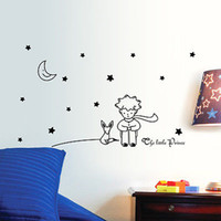 The Little Prince Moon Stars Wall Sticker Arte Vinil Bebê Kids Beroom Decor Wall Decals