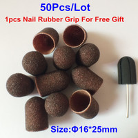 Wholesale Nail Sand Electric - Wholesale-Hot sell 16*25mm 50pcs lot Nail Art Sanding Bands Caps for Manicure Pedicure Electric Nail Drill Machinex Nail Tools