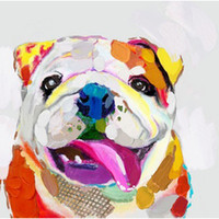 Wholesale Canvas Dog Art - Lovely Colorful Happy Dog - 100% Hand-painted Oil Painting on Canvas Animal Picture Mural Art Drawing for Home Living Bedroom Wall Drcor