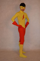 Wholesale Kids Costume Zentai - DC Comics Kid Flash Spandex Superhero Costume Halloween Party Cosplay Zentai Suit