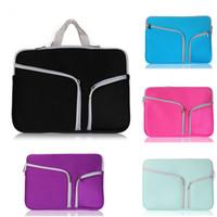 Wholesale Pocket Hp - Fiber Portable Double Pockets Zipper Laptop Sleeve Case Bag For Notebook Asus Dell HP Acer Lenovo Macbook 11 13 15 Pro Air Retina
