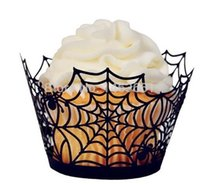 Wholesale Halloween Cupcake Wrappers - 24pcs lot Laser Cut Creative Spider Net Cupcake Liners Wrappers Halloween Party Cupcake Decoration Festive Supplies
