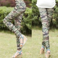 Wholesale Camouflage Stretch Pants - Womens Graffiti Style Slim Camouflage Stretch Trouser Army Tights Pants free shipping&DropShipping
