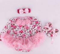 Wholesale Girls 3pc Pink - baby girl infant toddler 3pc cute outfits cupcake leopard flower floral Minnie onesies romper + rosette lace headband + bowknot shoes 3sets