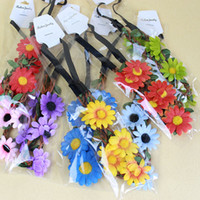 Wholesale Sunflower Headbands - Decorative Sunflower Hair Garlands Bohemian Beach Headbands Bride Wedding Hair Band Bridal Wreath Flowers Rattan Headwear
