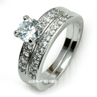 Wholesale Womens Diamonds Rings - White gold gf womens Engagement wedding ring set lab diamonds R281 size 6-9