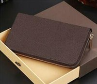 Wholesale Genuine Leather Checkbook Wallet - Men Women Famous Brand PU Leather Wallets Fashion Purse Arteira Masculina Short Coin Pocket Men Purse Luxury Brand Carteras With Box
