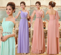 Wholesale Purple Chiffon Prom Dresses - New 2015 Cheap Prom Party Dresses Chiffon One Shoulder Long Purple Red Water Melon Evening Gowns Sexy Bridesmaid Dress Floor Length Crystals