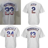 Wholesale 13 Flag - usa flag fashion 2 Derek Jeter 13 Alex Rodriguez 23 Don Mattingly 24 Gary SanchezCool Base Player Jersey