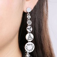 ingrosso orecchini lunghi di stile nuovo-The New Christmas Stud Earrings Alloy 70mm Long Earring European American Style Snow + Tree + Buon Natale