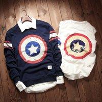 Wholesale Mens Beige Hoodie - 2015 United States Captain Shield Men's Autumn Star Streewear Hip Hop Mens Hoodies And Sweatshirts