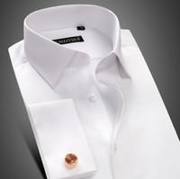 Wholesale Hottest Mens Dress Shirts - Hot sale 100% Cotton Mens Long Sleeve White Shirts Mens pure wedding dress shirts slim groom Casual Shirts Free shipping
