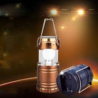 ingrosso lanterna ha portato 12v-2019 Nuova lanterna esterna portatile di campeggio del LED Luce solare pieghevole della montagna che fa un'escursione leggera eccellente eccellente di campeggio