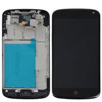 Schwarz für LG Optimus Google Nexus 4 E960 LCD Display Touchscreen Digitizer mit Rahmen Full Assembly DHL Freeshipping