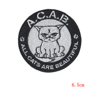 Wholesale Beautiful Trim - all cats are beautiful applique patches Embroidery Tomcat Embroidered Iron On Clothes Patch size 6.5cm wholesale ordering