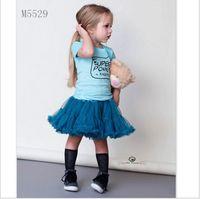 Wholesale Gauze Breast - 2016 Baby Girls Summer Clothing Sets Children Short Sleeve Letters Printed T-shirt+Gauze Tutu Skirt 2pcs Kids Outfits Girl Suit 90-130cm