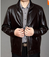 Wholesale Septwolves Free Shipping - Fall-SEPTWOLVES Men's short design stand collar second layer leather jacket men zip up jackets 2015spring and autumn free shipping