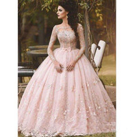 Wholesale wedding gowns size 18 - Illusion Long Sleeve Ball Gown Wedding Dresses Pink Arabic 18 Sweet Girls Quinceanera Gown Corset Bodice Lace Flower Bridal 2017
