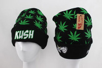 Wholesale kush beanie - Hot Sale Black KUSH Beanies Street Hip Hop Brand Beanie Winter Warm Caps left side Knitted Wool Cap for Women Men Beanies Fashion Hats