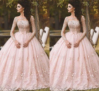 Wholesale tea length quinceanera dresses resale online - Pink Long Sleeve Prom Dresses Ball Gown Lace Appliqued Bow Sheer Neck Vintage Sweet Girls Debutantes Quinceanera Dress Evening Gowns