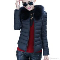 Wholesale Women Coat Collars - 1016 Warm Winter Jacket Women Slim Padded Jacket Detachable Fake Fur Collar Solid Color Women Jacket And Coat Outwear Plus Size
