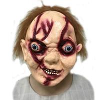 Wholesale Chucky Full Head Mask - Free shipping High Quality Halloween Party Creepy Scary CHUCKY Mask Latex Full Head Adult Costume Scy Boy Mask Free size Toys