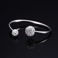 Wholesale Disco Ball Sterling Set - 925 Sterling silver Bracelet 12mm Crystal disco ball open Bangle bracelets Luxury Jewelry for Women and girls Christmas gift