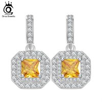 Wholesale Micro Earrings - Square Yellow Zircon and 47 Pieces Micro Paved CZ Dangle Earring Platinum Plated Trendy Jewelry for Women OE128