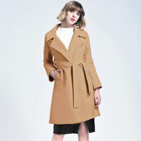бесплатное дамское пальто оптовых-2018 новая мода элегантный Леди хаки негабаритных стеганые шерстяные пальто с поясом манто femme Европейский простой верхняя одежда FS3151
