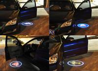 bienvenido luz de la puerta audi al por mayor-Al por mayor-inalámbrico puerta de coche logotipo de la luz del proyector del proyector llevó la luz de la sombra del fantasma de la lámpara para Audi Benz Toyota Nissan Mitsubishi Mazda VW Opel