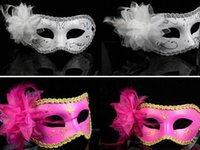 Wholesale Masquerade Ball Props - Women Sexy Hallowmas Venetian half mask masquerade masks flower feather mask dance party Theatre Prop Ball Wedding Festive Mask colorful