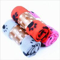 couvertures imprimées par chien achat en gros de-Patte d'impression animal de compagnie chat chien polaire couverture souple animal petit chaud moyen grand patte d'impression chat chien chiot polaire couverture souple lit tapis