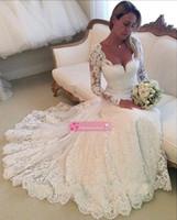 2015 wedding dresses оптовых-2015 Самые новые романтические кружева свадебные платья выполненные на заказ Милая Длинные рукава Открытый Назад Часовня Свадебные платья плюс размер BO7302