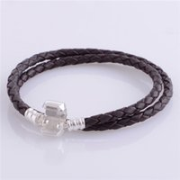 Wholesale Sterling Silver Leather Jewelry Wholesale - 2016 Black Brown Leather Snake Chain 925 Sterling Silver Plated Clip Bracelets Suitable for Pandora Style 925 Silver jewelry Charms&Beads