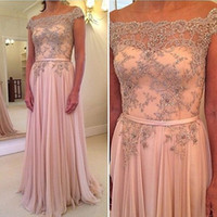 Wholesale gala sheer dress online - Pink Spring Pageant Dress with Pearls Sheer Neck Prom Dresses Evening Gown Sexy Evening Dress Vestidos De Gala Longo