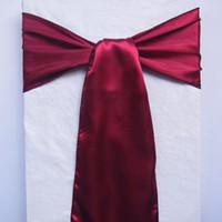Wholesale Turquoise Satin Chair Sashes Wholesale - 50pcs lot Burgundy Turquoise Satin Chair Sashes banquet Sash Wedding Bows SAT